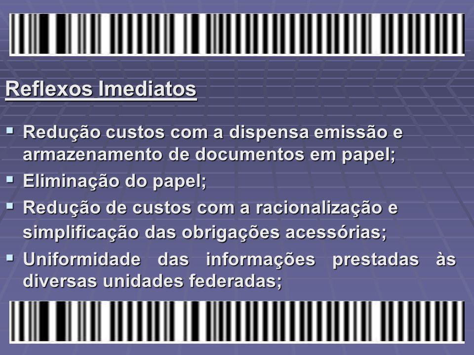 Reflexos Imediatos Redução custos com a dispensa emissão e armazenamento de documentos em papel; Eliminação do papel;