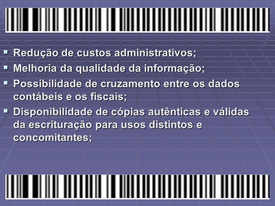 Redução de custos administrativos;