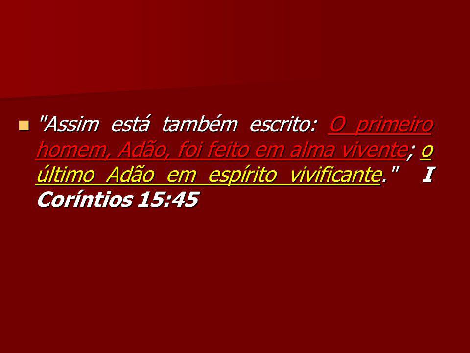 Assim está também escrito: O primeiro homem, Adão, foi feito em alma vivente; o último Adão em espírito vivificante. I Coríntios 15:45