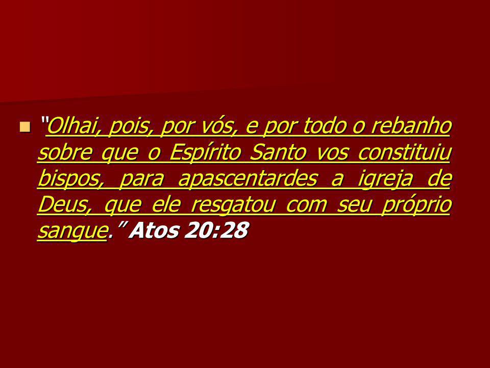 Olhai, pois, por vós, e por todo o rebanho sobre que o Espírito Santo vos constituiu bispos, para apascentardes a igreja de Deus, que ele resgatou com seu próprio sangue. Atos 20:28