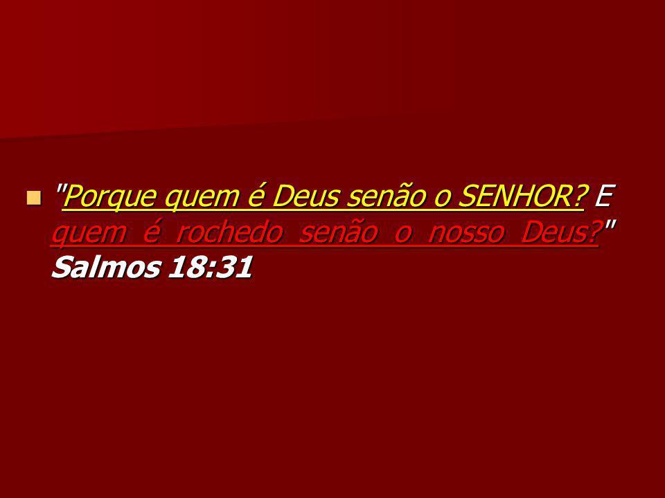 Porque quem é Deus senão o SENHOR E quem é rochedo senão o nosso Deus Salmos 18:31