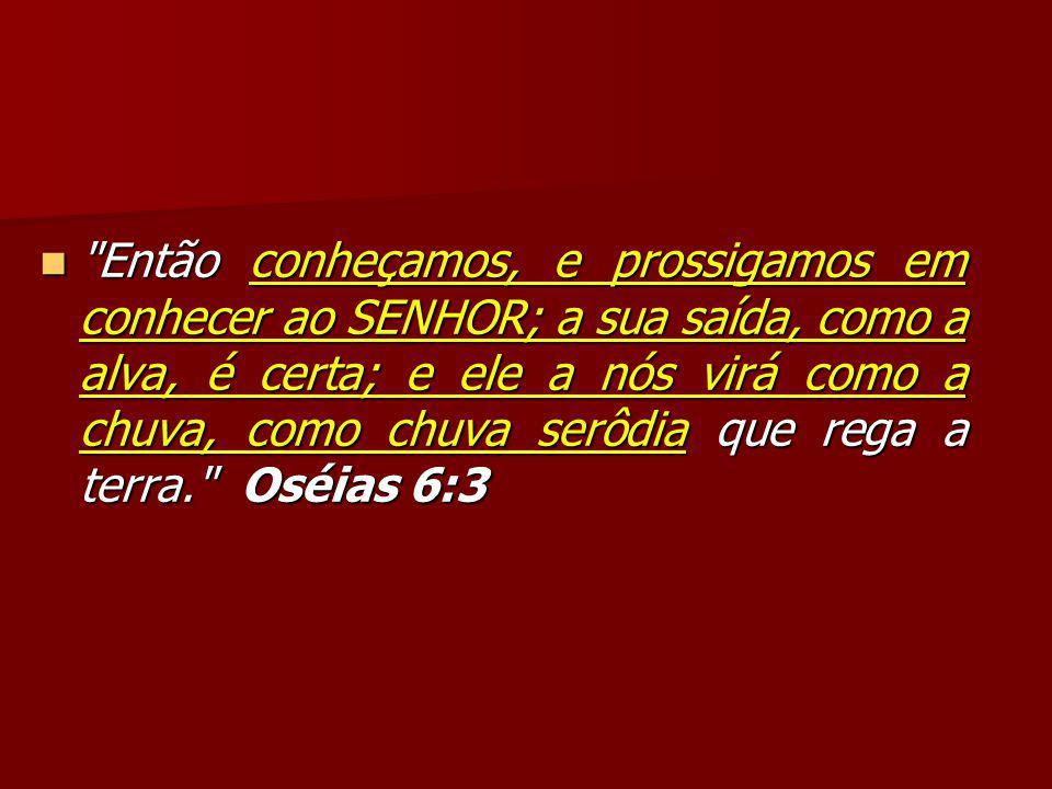Então conheçamos, e prossigamos em conhecer ao SENHOR; a sua saída, como a alva, é certa; e ele a nós virá como a chuva, como chuva serôdia que rega a terra. Oséias 6:3