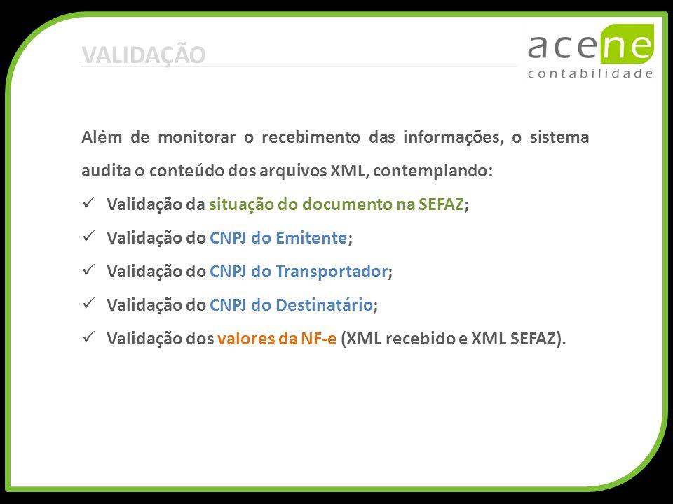 VALIDAÇÃO Além de monitorar o recebimento das informações, o sistema audita o conteúdo dos arquivos XML, contemplando: