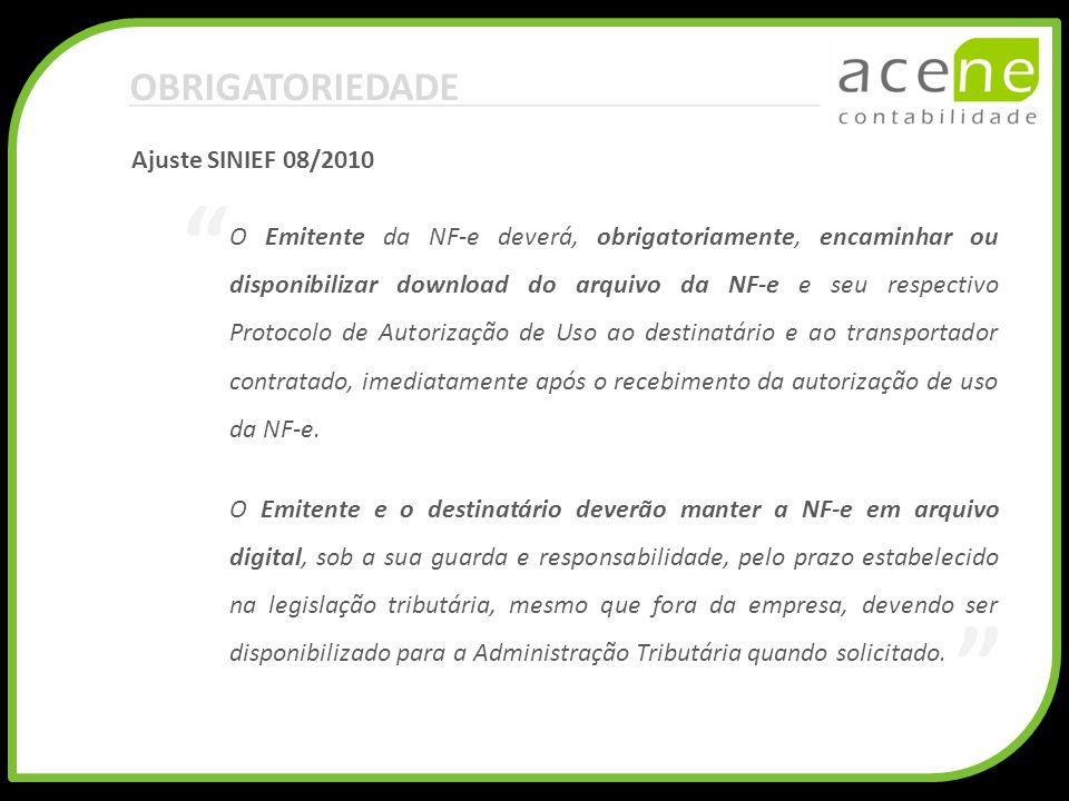 OBRIGATORIEDADE Ajuste SINIEF 08/2010