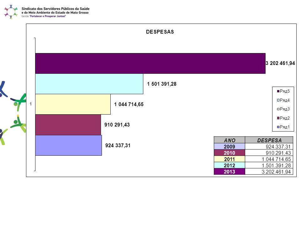 ANO DESPESA 2009 924.337,31 2010 910.291,43 2011 1.044.714,65 2012 1.501.391,28 2013 3.202.461,94