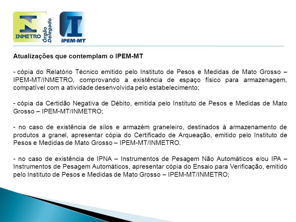 Atualizações que contemplam o IPEM-MT