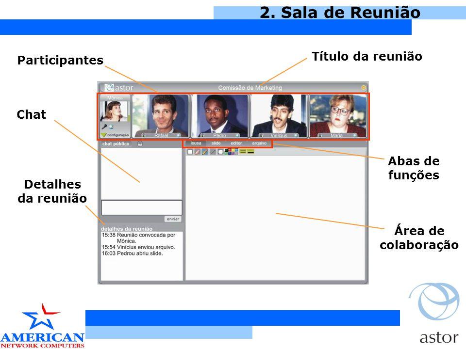 2. Sala de Reunião Título da reunião Participantes Chat