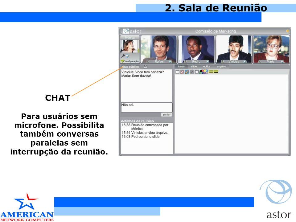 2. Sala de Reunião CHAT. Para usuários sem microfone.