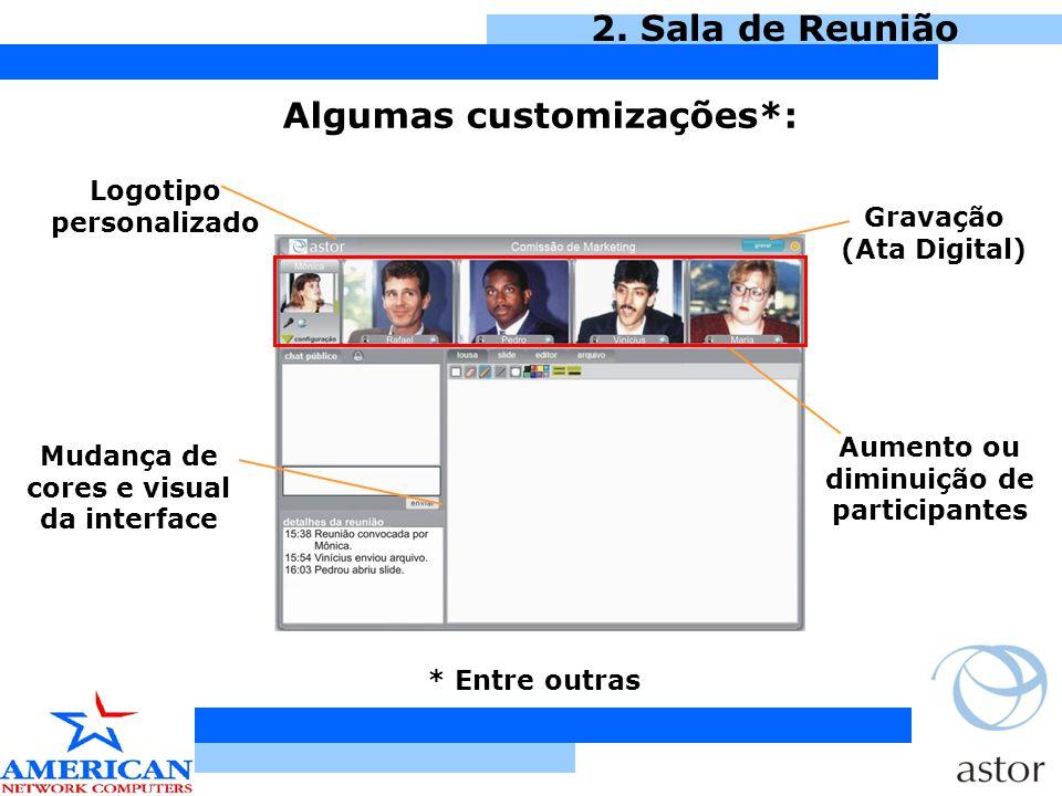 2. Sala de Reunião Algumas customizações*: