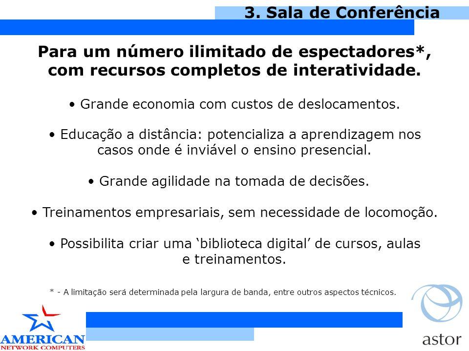 3. Sala de Conferência Para um número ilimitado de espectadores*, com recursos completos de interatividade.