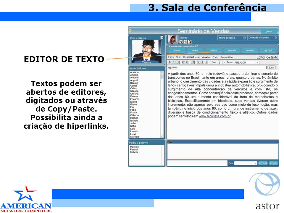 3. Sala de Conferência EDITOR DE TEXTO