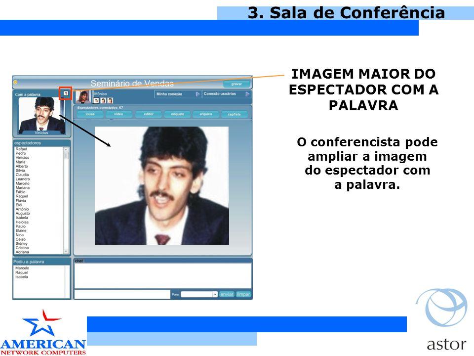 3. Sala de Conferência IMAGEM MAIOR DO ESPECTADOR COM A PALAVRA