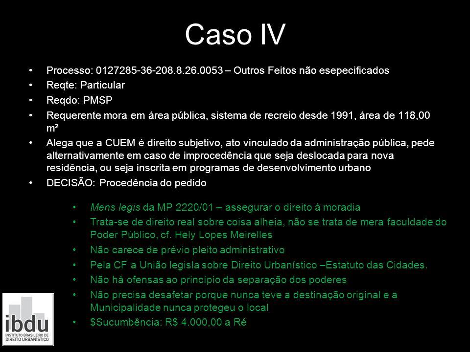Caso IV Processo: 0127285-36-208.8.26.0053 – Outros Feitos não esepecificados. Reqte: Particular. Reqdo: PMSP.