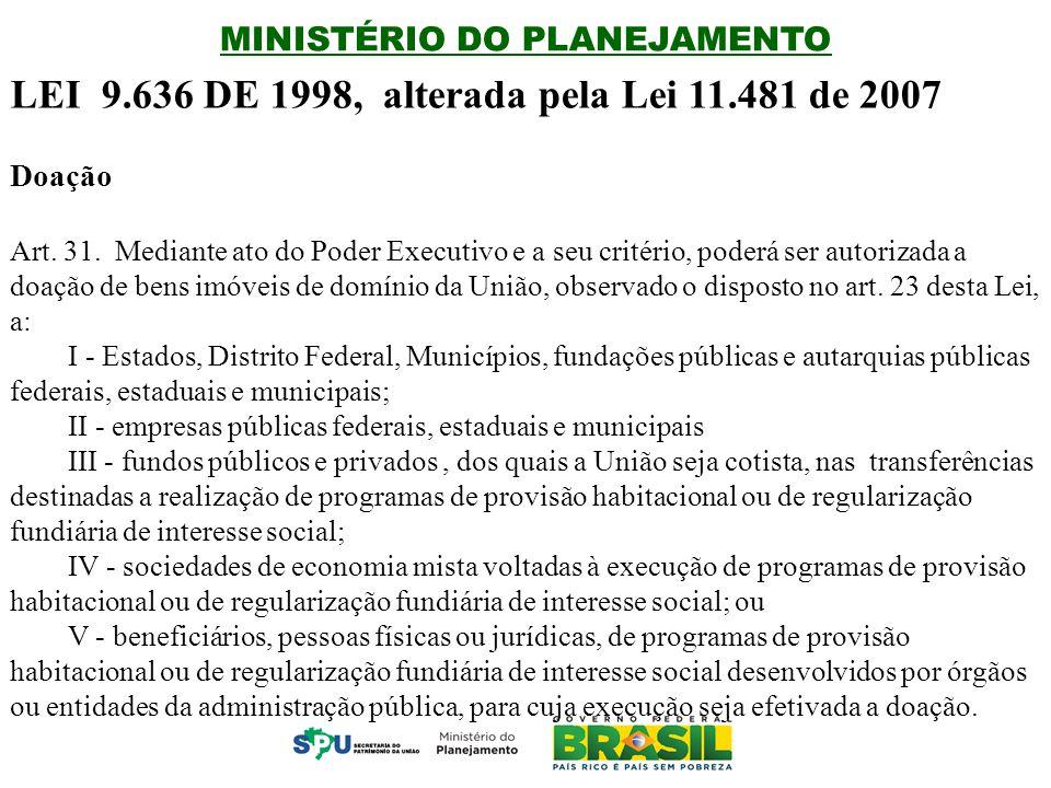 LEI 9.636 DE 1998, alterada pela Lei 11.481 de 2007