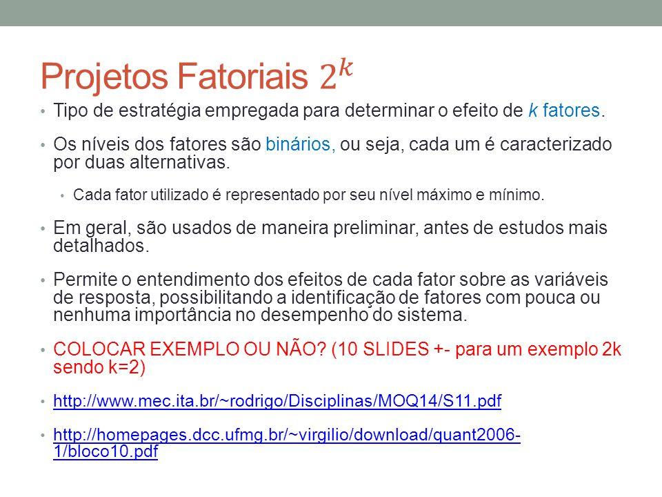 Projetos Fatoriais 2 𝑘 Tipo de estratégia empregada para determinar o efeito de k fatores.