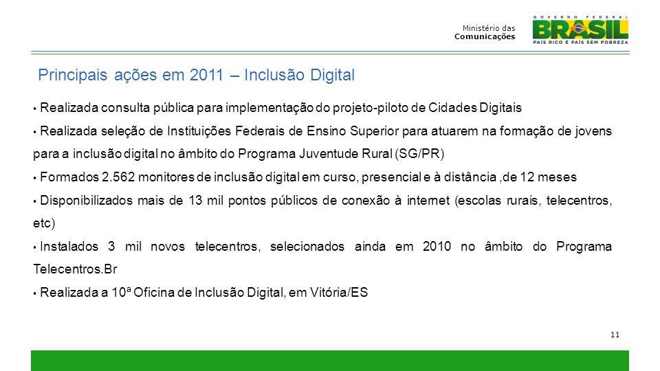 Principais ações em 2011 – Inclusão Digital
