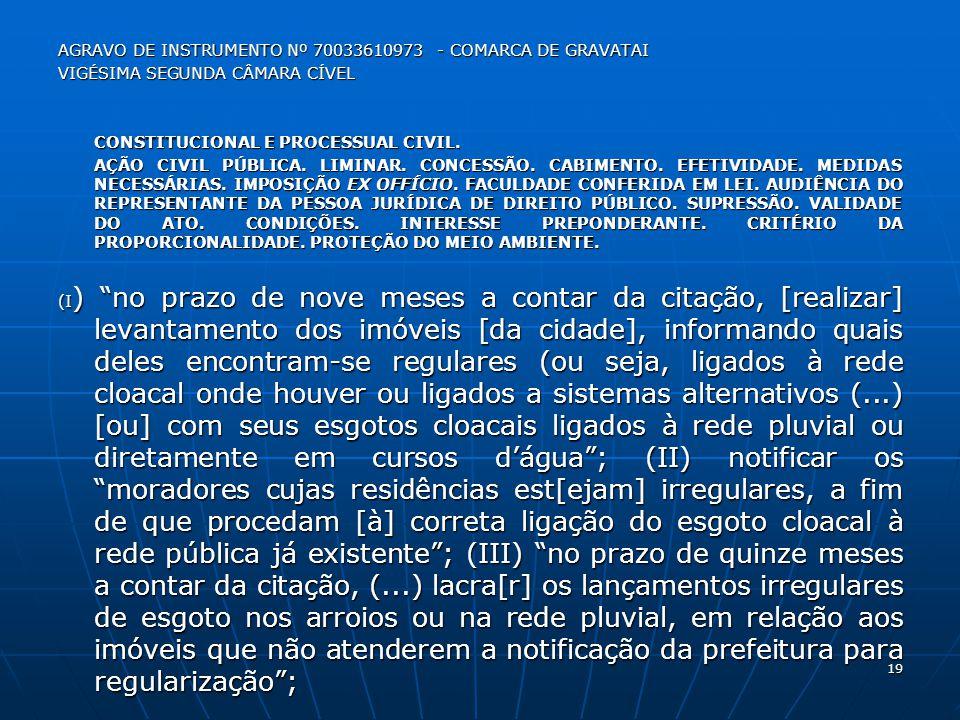 Agravo de Instrumento Nº 70033610973 - comarca de gravatai