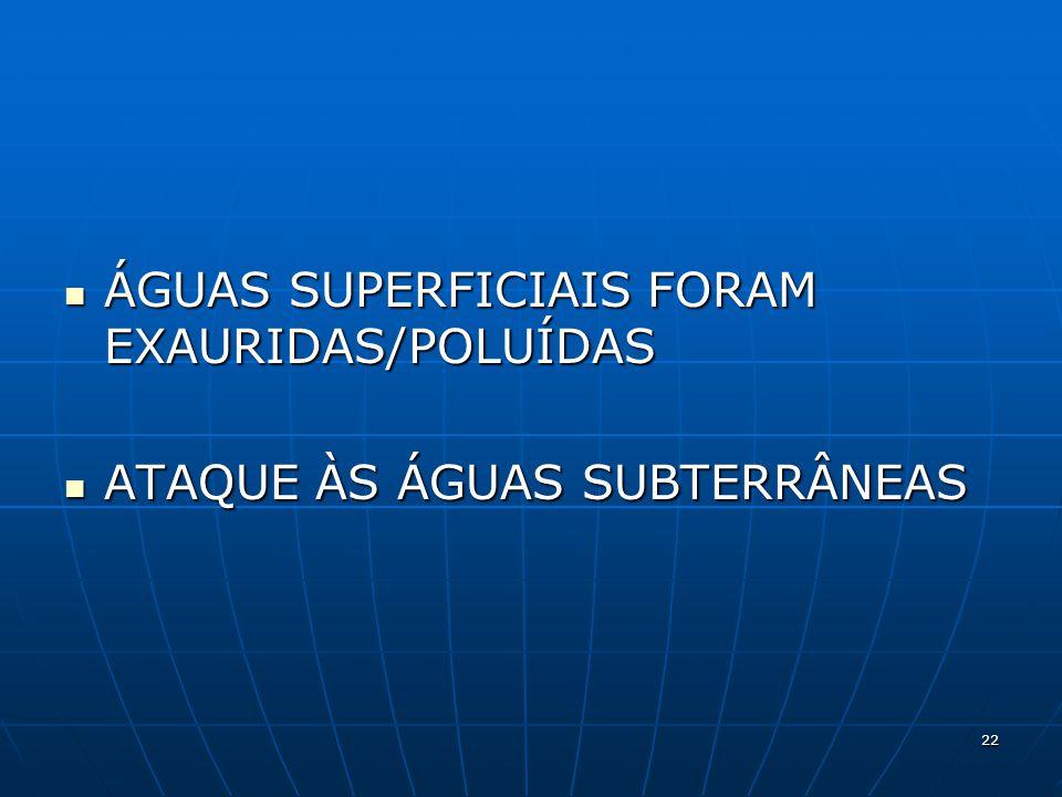 ÁGUAS SUPERFICIAIS FORAM EXAURIDAS/POLUÍDAS