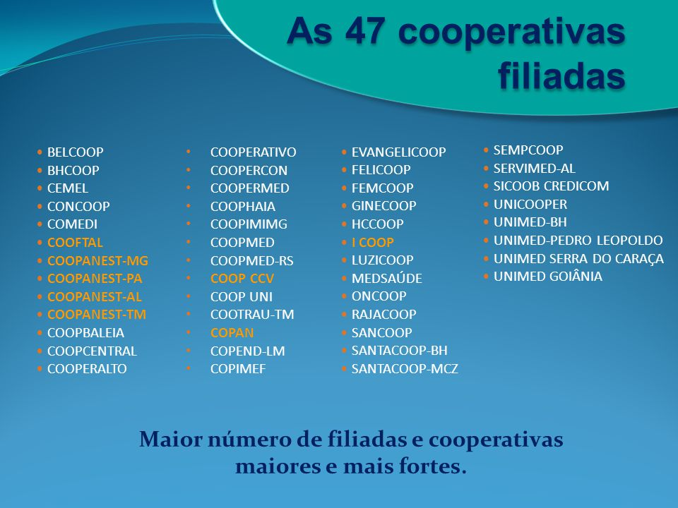 Maior número de filiadas e cooperativas maiores e mais fortes.
