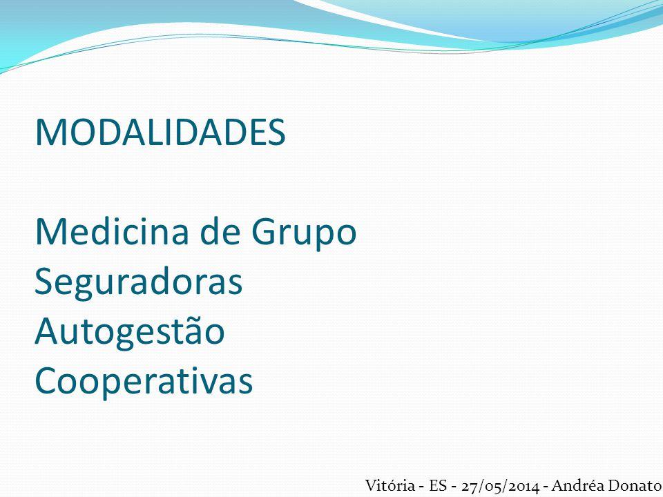MODALIDADES Medicina de Grupo Seguradoras Autogestão Cooperativas