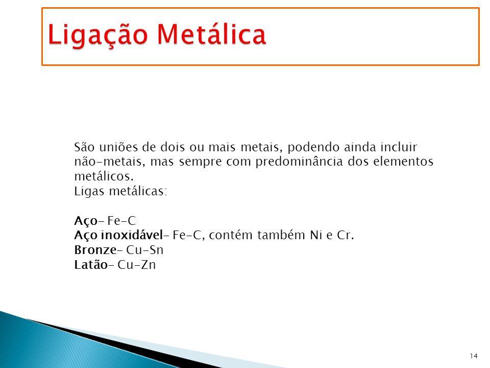 Ligação Metálica São uniões de dois ou mais metais, podendo ainda incluir não-metais, mas sempre com predominância dos elementos metálicos.