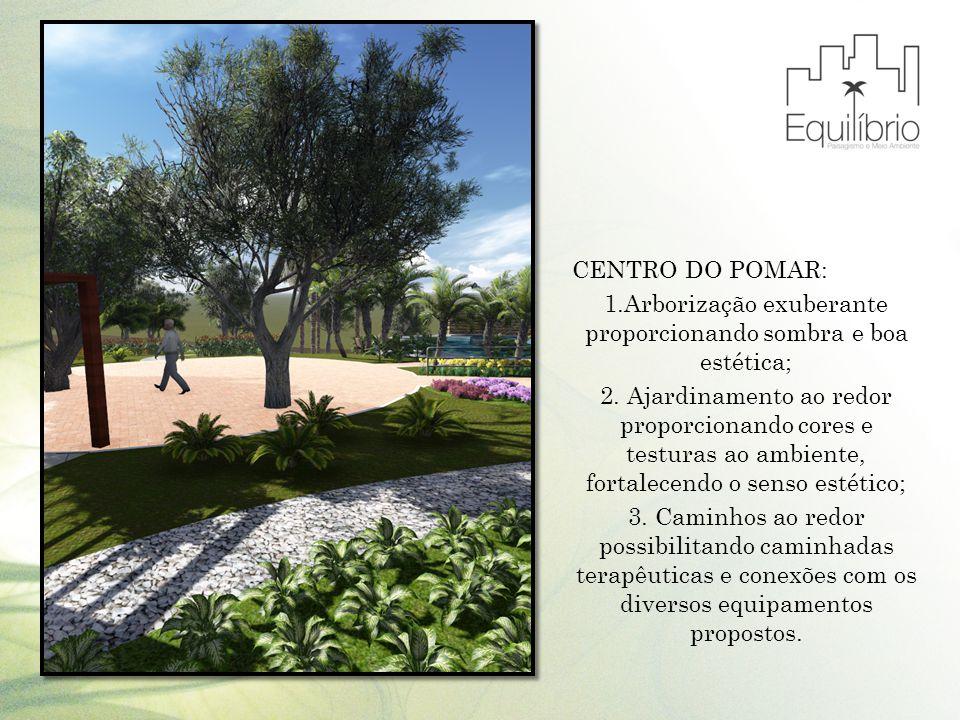 1.Arborização exuberante proporcionando sombra e boa estética;