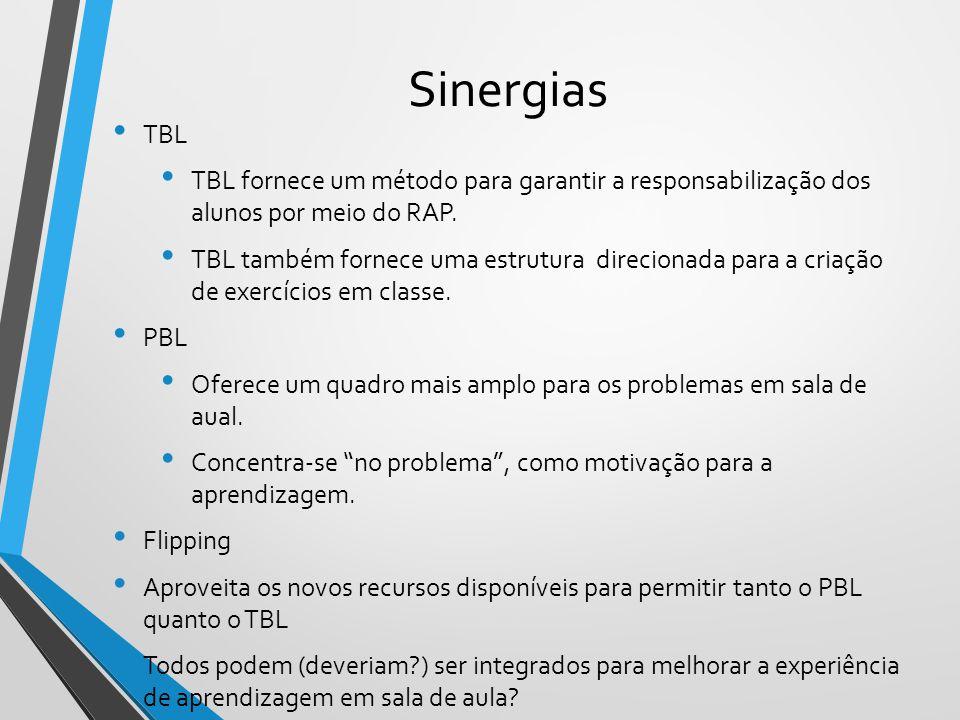 Sinergias TBL. TBL fornece um método para garantir a responsabilização dos alunos por meio do RAP.