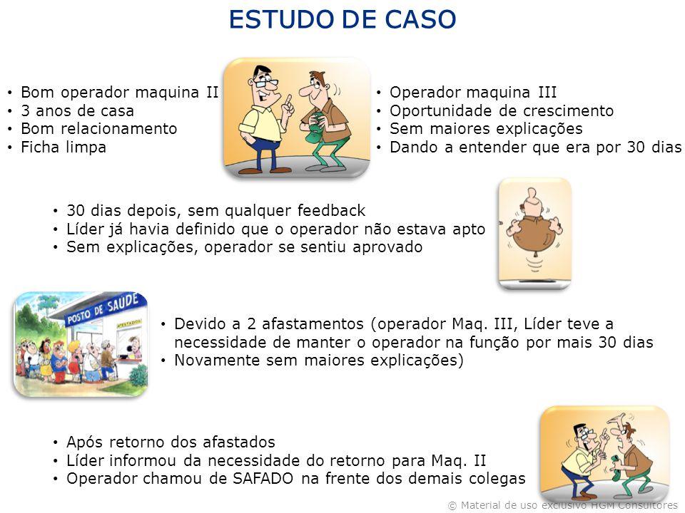 ESTUDO DE CASO Bom operador maquina II 3 anos de casa