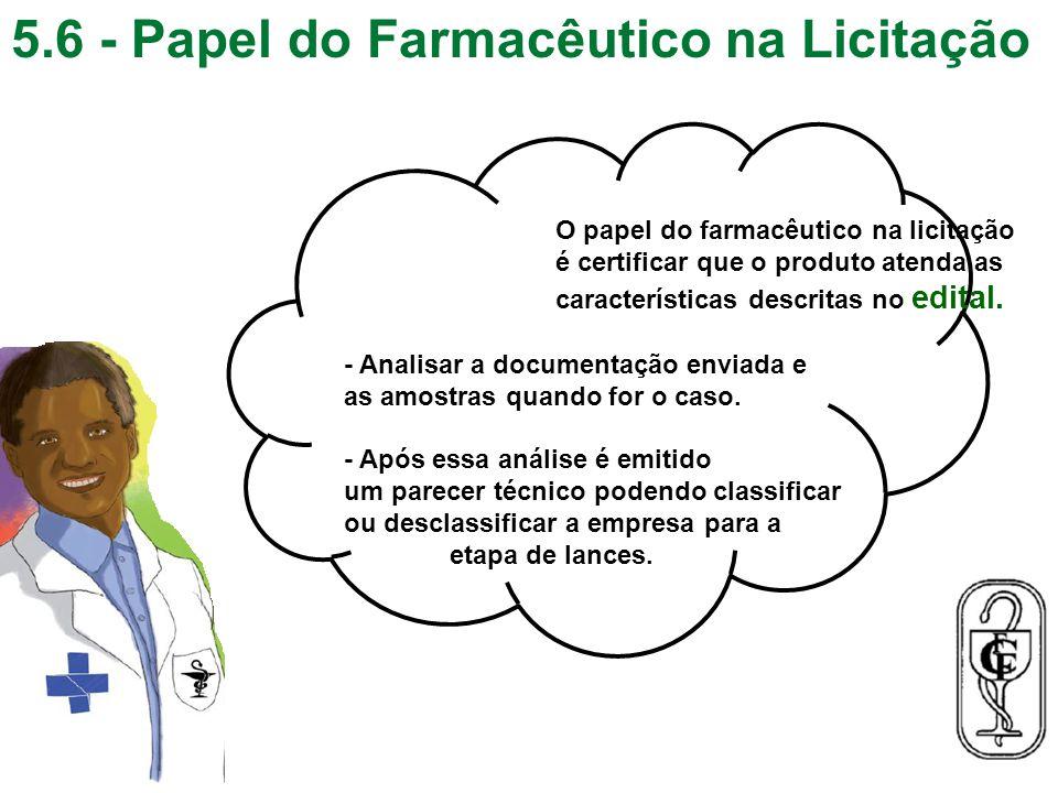5.6 - Papel do Farmacêutico na Licitação