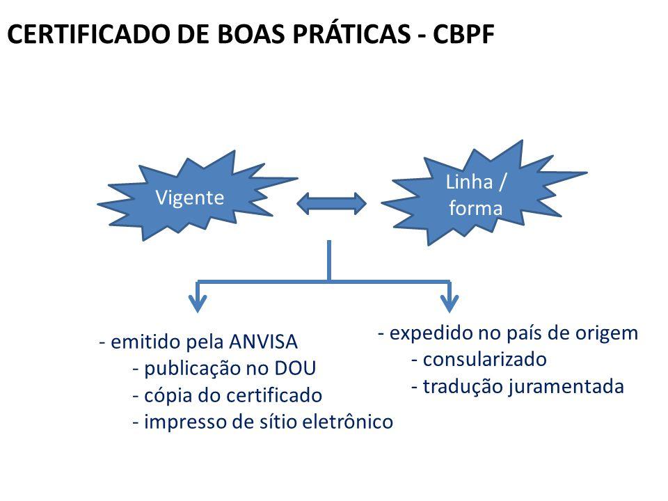 CERTIFICADO DE BOAS PRÁTICAS - CBPF