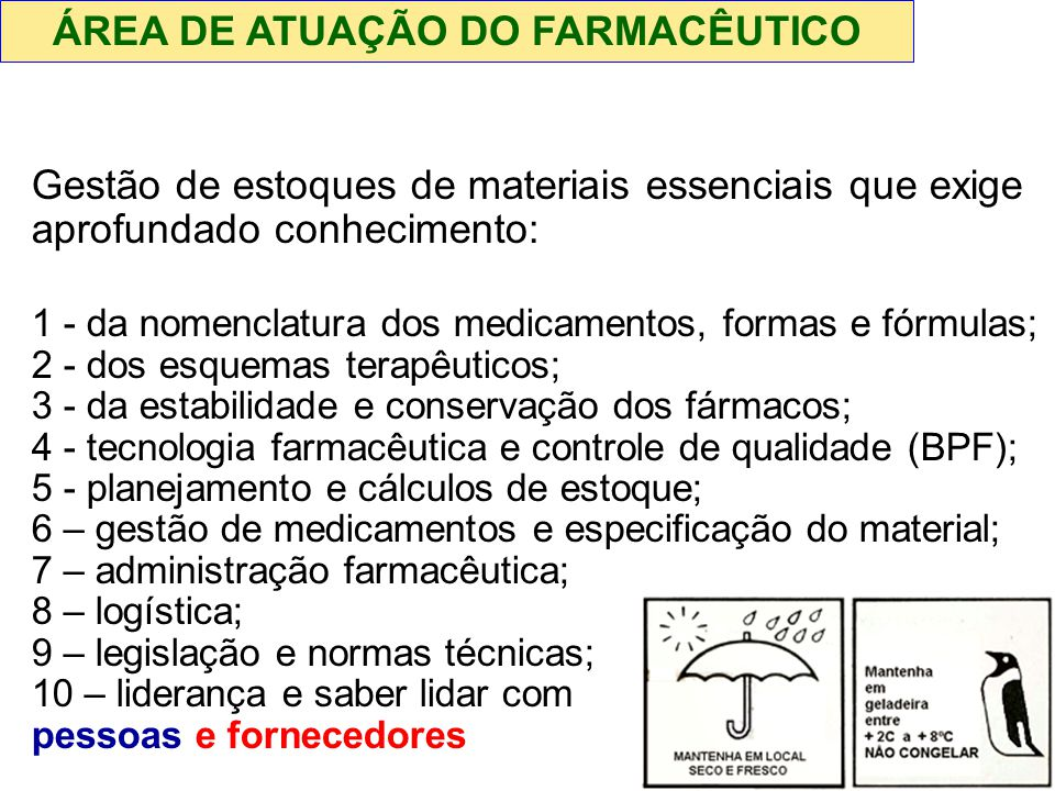 ÁREA DE ATUAÇÃO DO FARMACÊUTICO