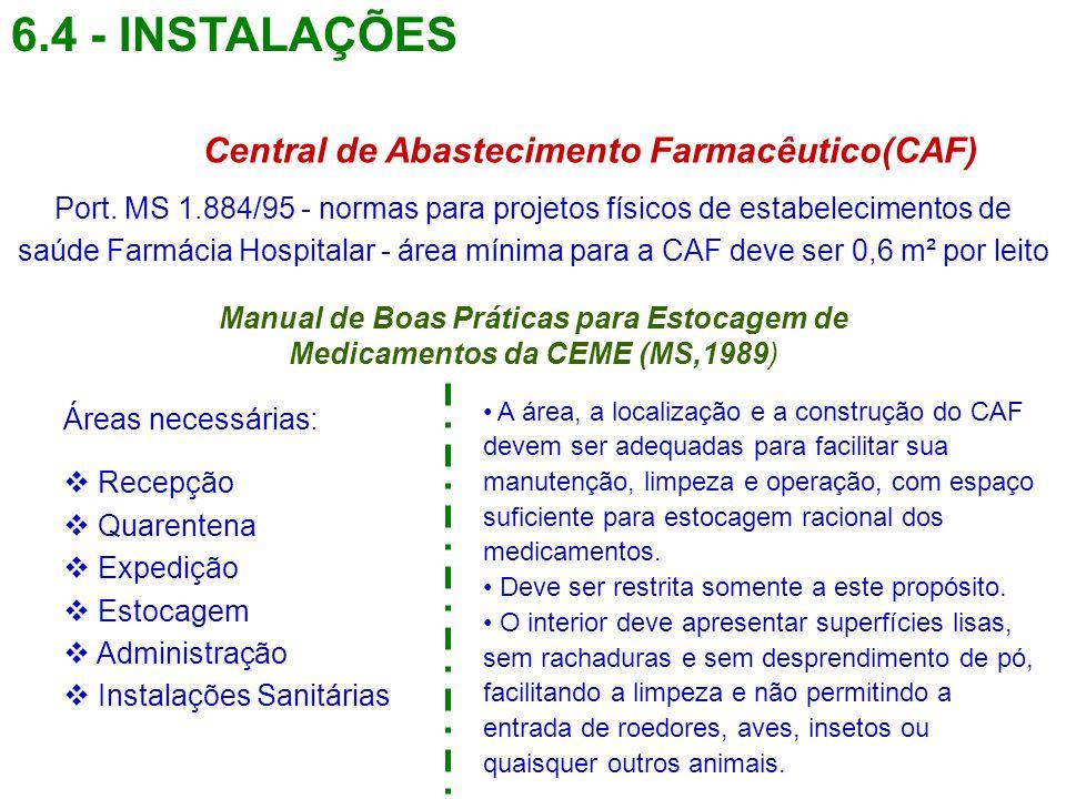6.4 - INSTALAÇÕES Central de Abastecimento Farmacêutico(CAF)