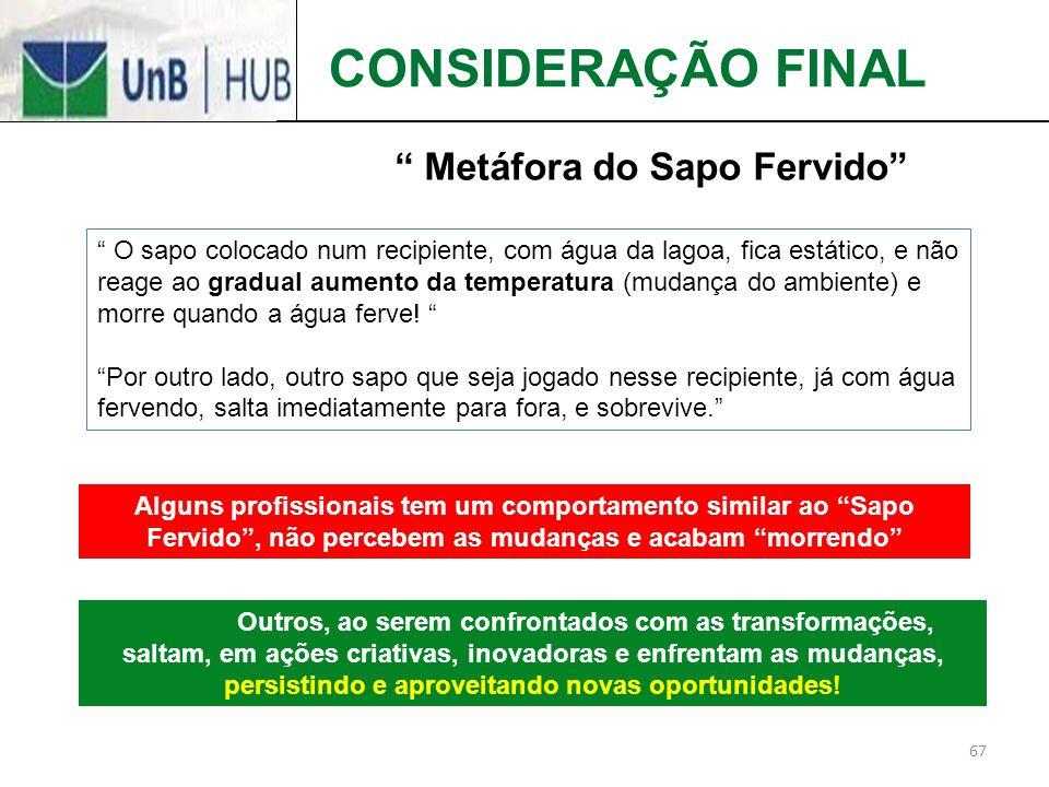 CONSIDERAÇÃO FINAL Metáfora do Sapo Fervido