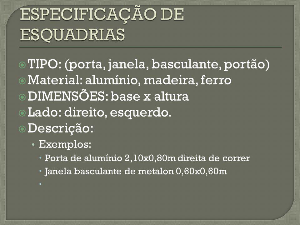 ESPECIFICAÇÃO DE ESQUADRIAS