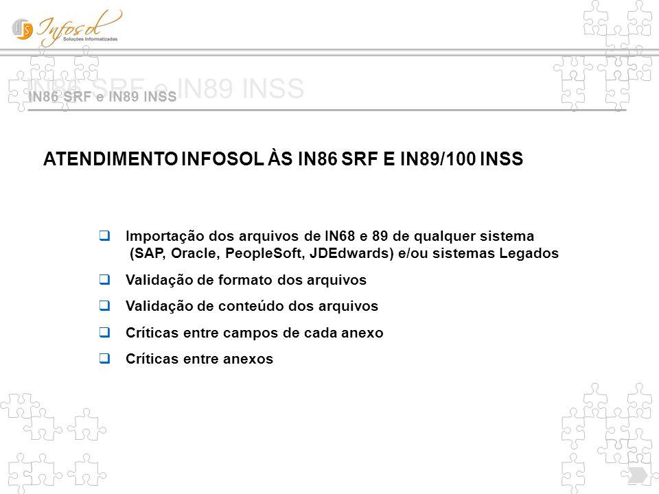 IN86 SRF e IN89 INSS ATENDIMENTO INFOSOL ÀS IN86 SRF E IN89/100 INSS