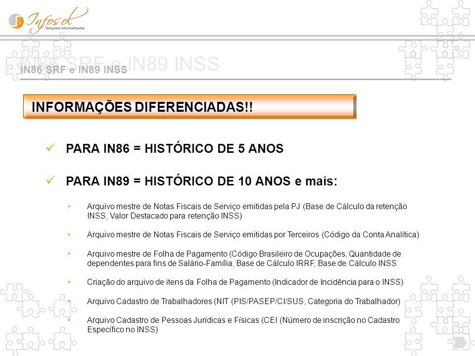 IN86 SRF e IN89 INSS INFORMAÇÕES DIFERENCIADAS!!