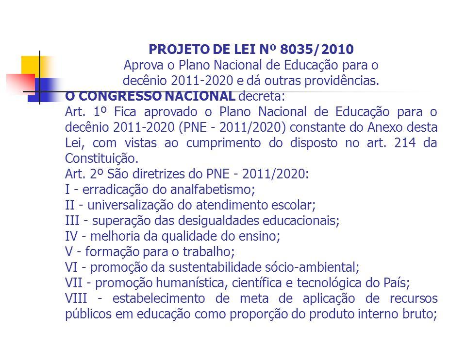 Aprova o Plano Nacional de Educação para o