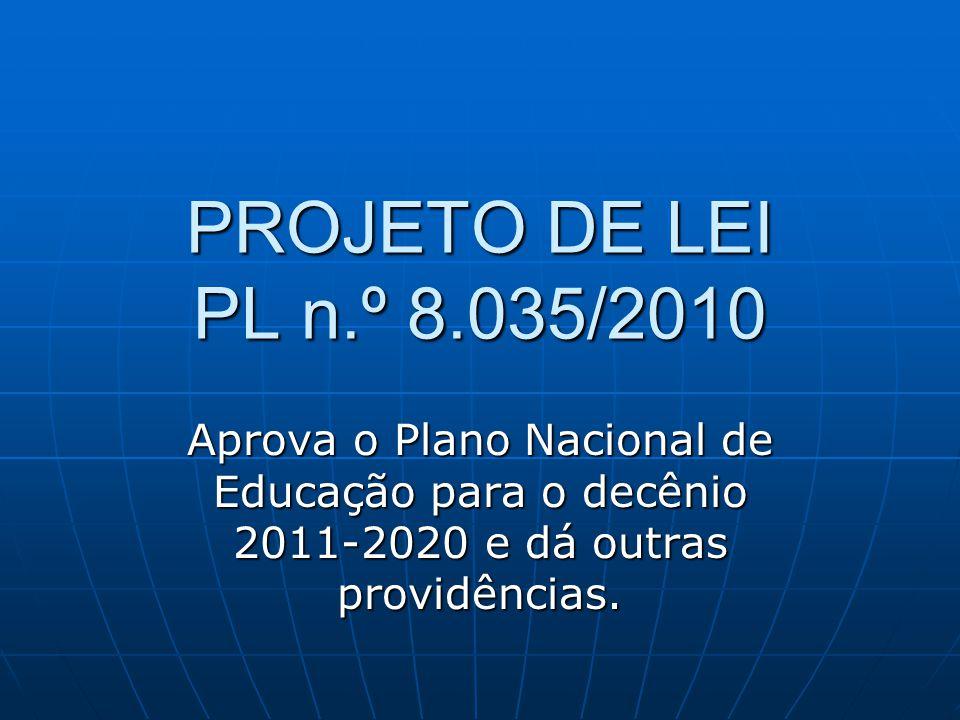 PROJETO DE LEI PL n.º 8.035/2010 Aprova o Plano Nacional de Educação para o decênio 2011-2020 e dá outras providências.