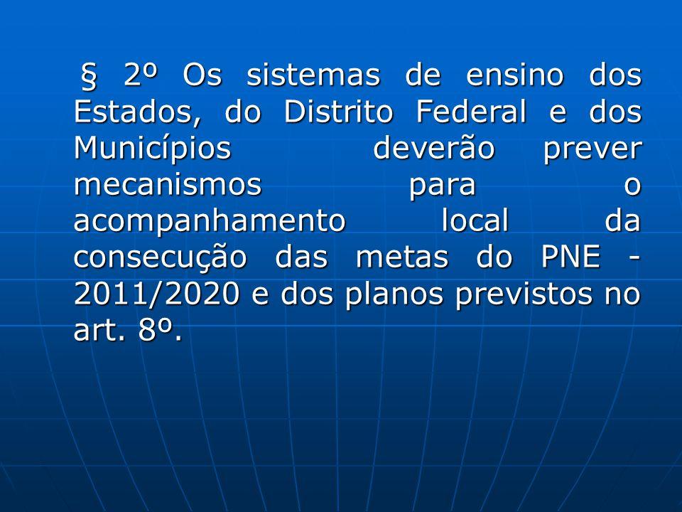 § 2º Os sistemas de ensino dos Estados, do Distrito Federal e dos Municípios deverão prever mecanismos para o acompanhamento local da consecução das metas do PNE - 2011/2020 e dos planos previstos no art.