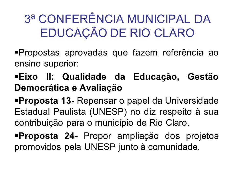 3ª CONFERÊNCIA MUNICIPAL DA EDUCAÇÃO DE RIO CLARO