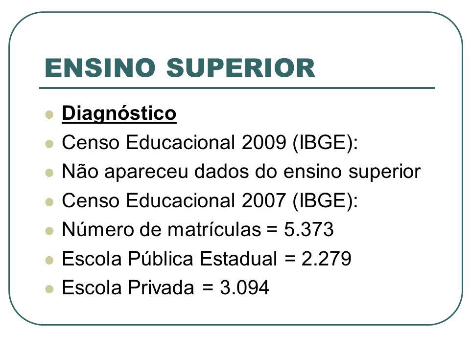 ENSINO SUPERIOR Diagnóstico Censo Educacional 2009 (IBGE):