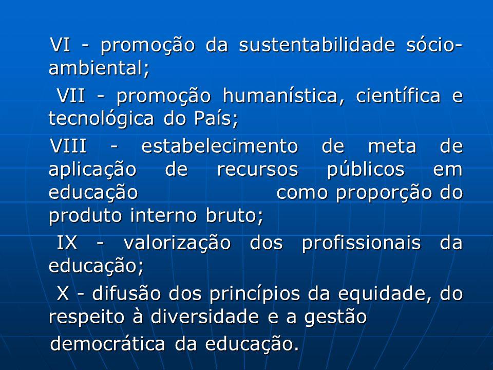 VI - promoção da sustentabilidade sócio-ambiental;