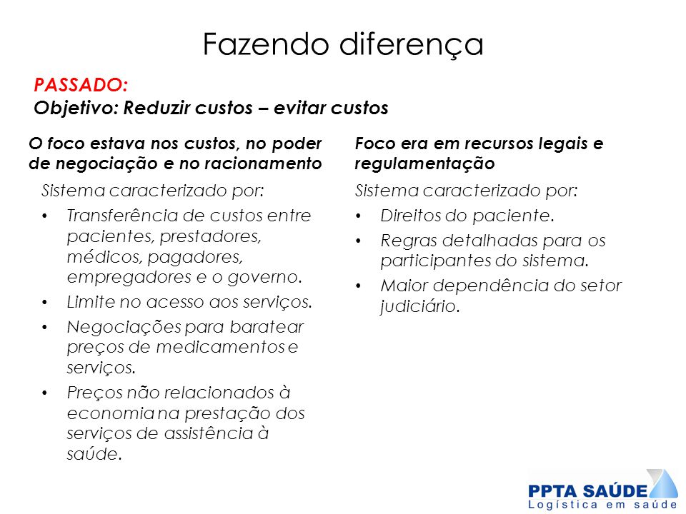 Fazendo diferença PASSADO: Objetivo: Reduzir custos – evitar custos