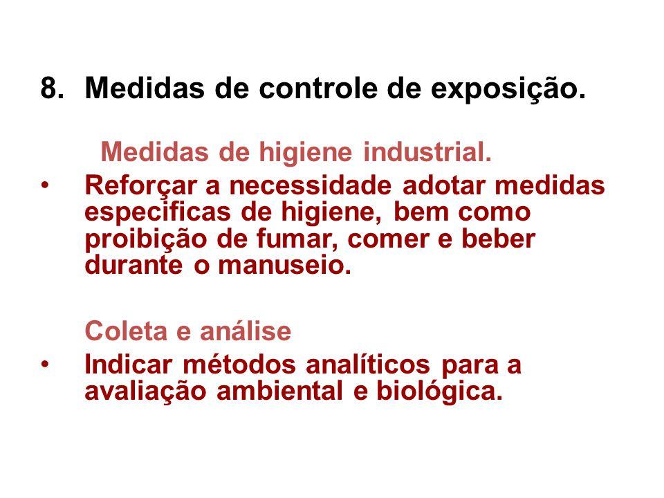 Medidas de controle de exposição.