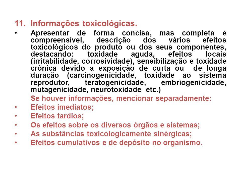 Informações toxicológicas.