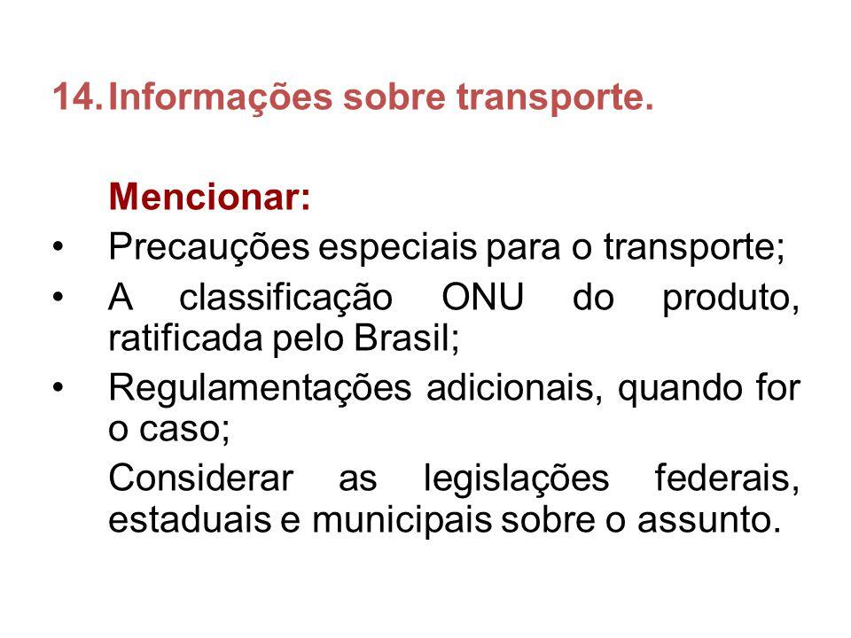 Informações sobre transporte.