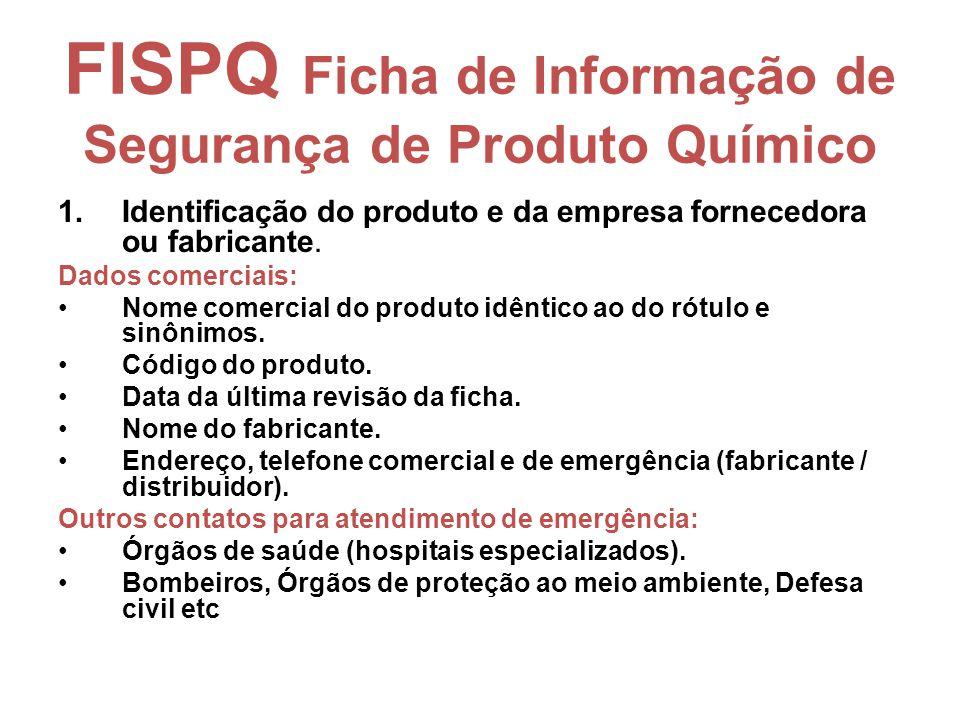 FISPQ Ficha de Informação de Segurança de Produto Químico