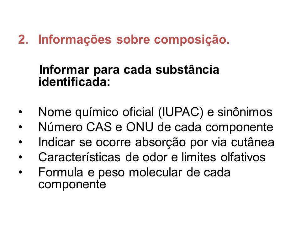 Informações sobre composição.