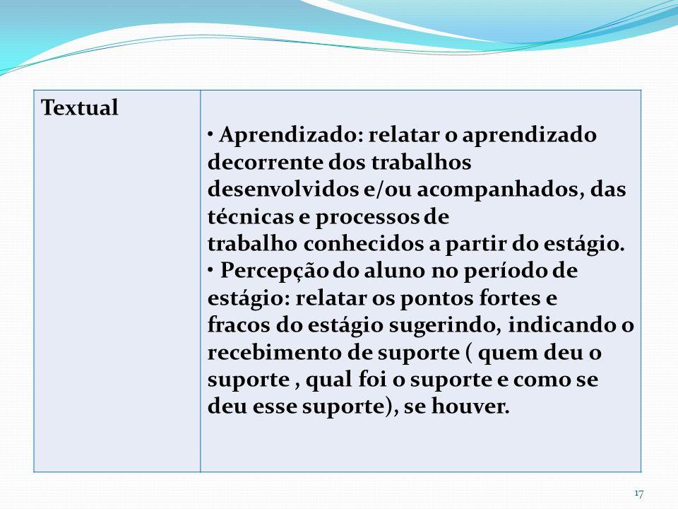 Textual • Aprendizado: relatar o aprendizado decorrente dos trabalhos. desenvolvidos e/ou acompanhados, das técnicas e processos de.