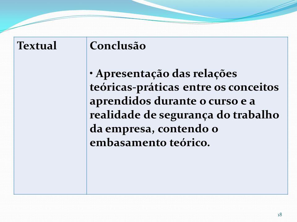 Textual Conclusão. • Apresentação das relações teóricas-práticas entre os conceitos.